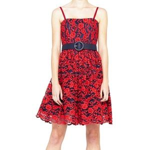 ALICE & OLIVIA Red/Navy Lace Dress!! ❤️💙